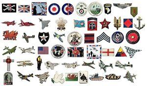 Military Army Navy RAF Aircraft Churchill Spitfire Lancaster SAS WW1 WW2 Badges