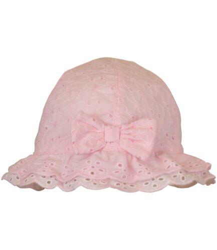 Babyprem bébé fille traditionnel d/'été Chapeau Soleil nœud rose en coton blanc 0-3 M 3-6 M