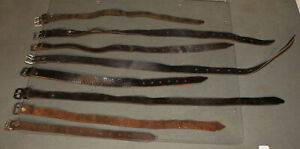 Vintage LEATHER STRAP LOT of 8 Black & Brown for Sheath Scabbard Collar Tack