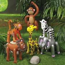 "6 SAFARI ANIMAL INFLATABLE DECORATIONS 16"" TO 25"" NEW zebra,giraffe,tiger,lion++"