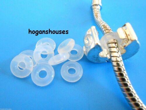 30 PC WHITE RUBBER STOPPER RINGS SPACER fit 3MM European Charm Bead Bracelet