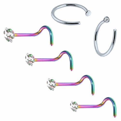 BodyJ4You 6PCS Nose Screw Stud Surgical Steel Hoop Ring 20G Piercing Jewelry Set