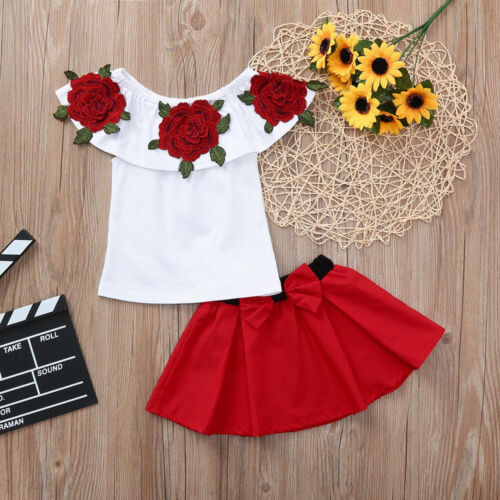 Toddler Kids Baby Girls Off Shoulder Top Mini Skirt Dress Outfit Set Clothes NEW