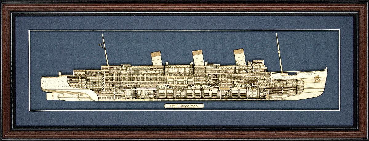 Madera Cutaway model of RMS Queen Mary-Hecho en EE. UU.