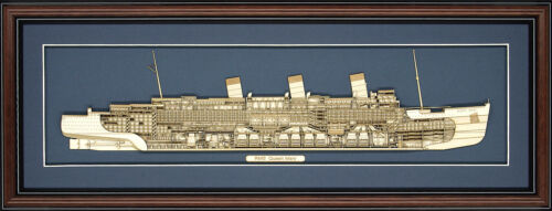 Wood Cutaway Model of RMS Queen Mary - Made in the USA