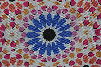 SALE!!! Moorish Circles Chiffon Print Dress Fabric Material (Ivory/Red/Blue)