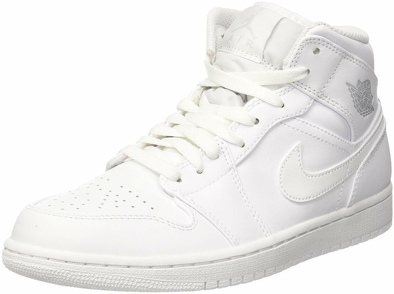 AIR JORDAN JORDAN JORDAN 1 MID Mens White Pure Platinum-White 554724-104 Basketball shoes df7ff8