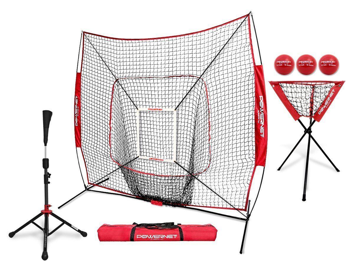 PowerNet DLX (Baseball Softball Net w/ Strike Zone, Tee, Caddy)   Team Colors