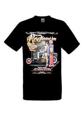 TShirt mit Hot Rod Gas Full Service Pin Up Motiv  Gr.S-3XL