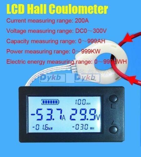 Digital Hall coulombmeter DC 300V 200A Voltmeter Ammeter Batterie Power meter