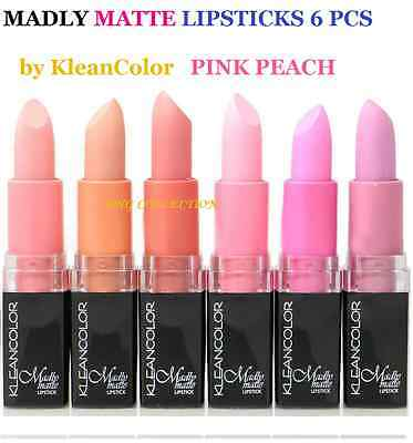 SALE* 6pcs SET Kleancolor Madly Matte Lipstick VIVID PINK NATURAL Beige 1882