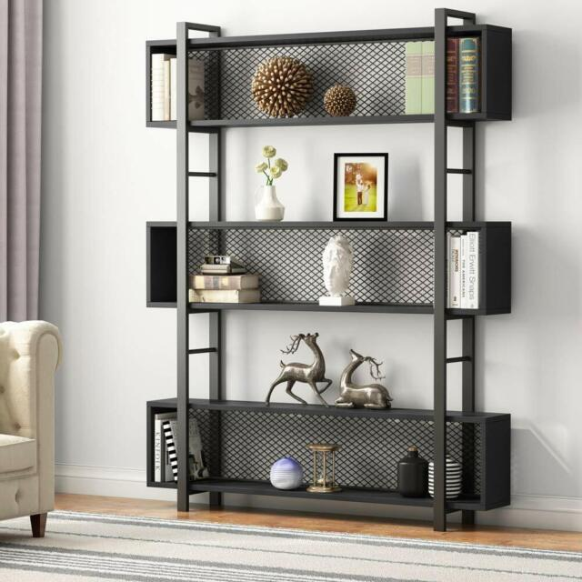 Vintage Industrial Style Bookcase Display Shelf For Home