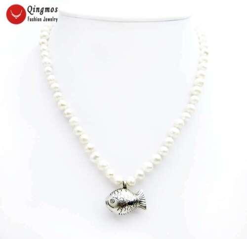 6-7 Mm Blanc naturel d/'eau douce collier de perles /& Poisson Collier Pendentif Pour Femmes