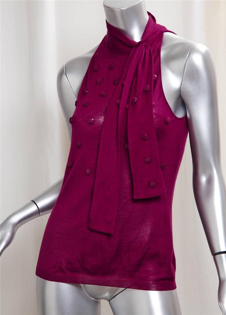 CHRISTIAN DIOR damen Berry Rosa Cashmere Silk Knit Sleeveless Halter Top 40 8