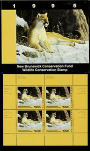 NEW-BRUNSWICK-2M-1995-COUGAR-CONSERVATION-STAMP-MINI-SHEET-OF-4-IN-FOLDER