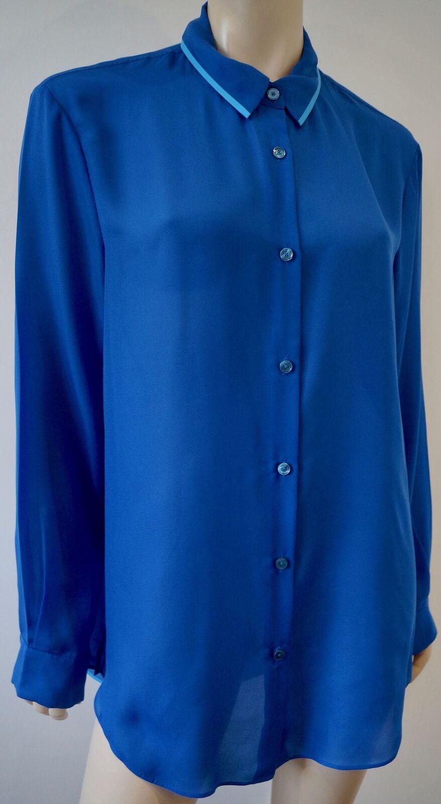 ACNE STUDIOS Woherren Blau Sheer OverGrößed PATTI TAPE Blouse Shirt Top FR38 UK10