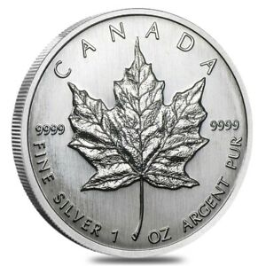 1989-1-oz-Silver-Canadian-Maple-Leaf-9999-Fine-5-Coin-BU-Sealed