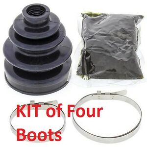 Four-CV-BOOTS-FRONT-AXLE-INNER-OUTER-Kawasaki-KLF300C-Bayou-4X4-1989-to-2005