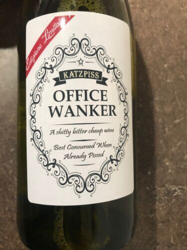 OFFICE WANKER WINE Funny Novelty Wine Bottle Labels Joke Humour SECRET SANTA