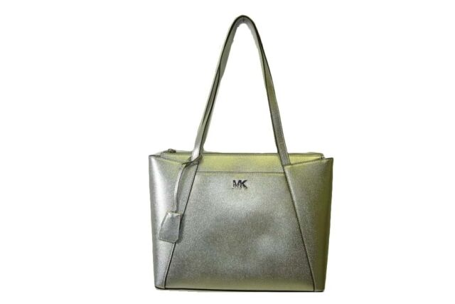37cfbce11 Michael Kors Maddie Medium Metallic Silver Crossgrain Leather Tote Shoulder  Bag