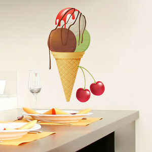 Wall decals ice cream full color decal colorful kitchen for Colorful kitchen wall art