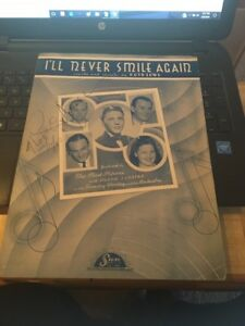 Vtg-Sheet-Music-I-039-ll-Never-Smile-Again-1939-Pied-Pipers-Frank-Sinatra