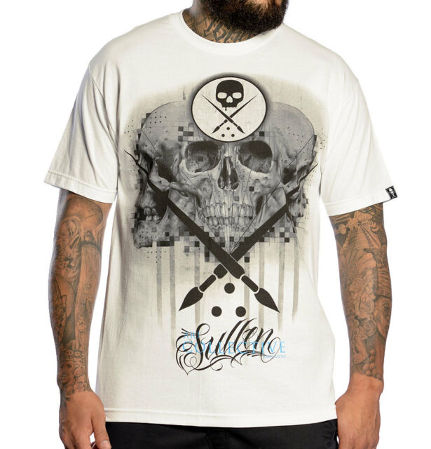 SULLEN CLOTHING JOSH PAYNE WHITE SKULLS PAINTBRUSH DARK INKED UP   T SHIRT S-5XL