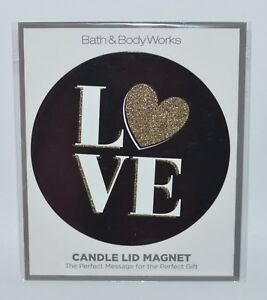 NEW-BATH-amp-BODY-WORKS-LOVE-GOLD-HEART-BLACK-MAGNET-LARGE-3-WICK-CANDLE-LID-DECOR