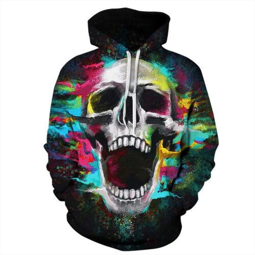 Damen Herren 3D Aufdruck Kapuzenpullover Pulli Sweatshirt Jumper Hoodie Jacke DE