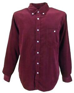 Hombre-Anos-60-Anos-70-Retro-Mod-Burdeos-Cordon-Fino-con-Botones-Camisa