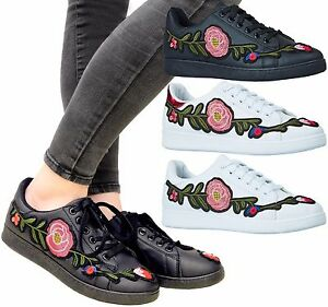 6b042594b8c Image is loading Ladies-Womens-Flats-Lace-Up-Flower-Embroidered-Sneaker-