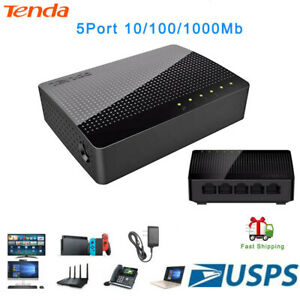 Tenda-5-Port-10-100-1000Mb-Commutateur-Gigabit-Desktop-Ethernet-Commutateur-reseau-LAN-Hub