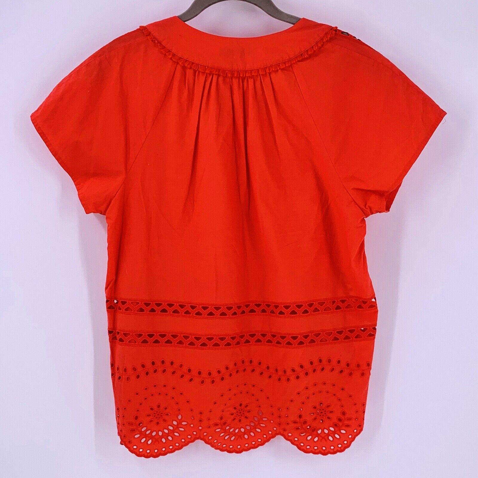 Madewell Orange Cotton Eyelet Angelica Top Size S… - image 7