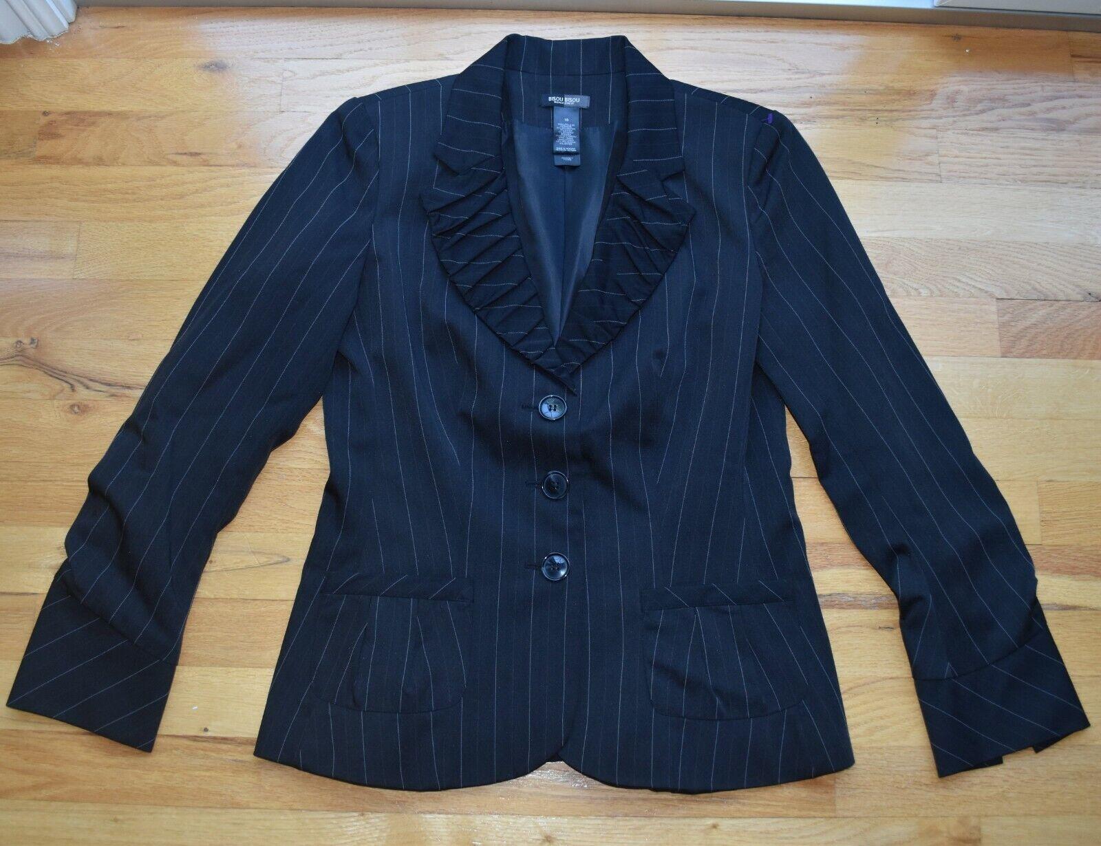 Women's Bisou Bisou Michele BOHBOT Black Striped Stretch Jacket Blazer (12)