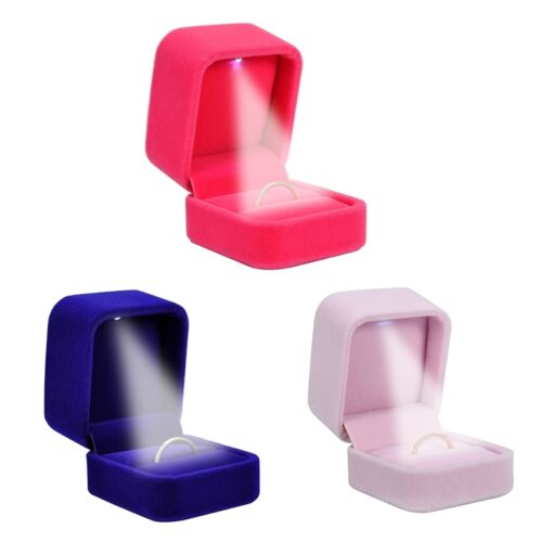 1 Boîte à Bijoux Coffret+lumière LED Cadeau Bague Boucle d/'oreille 5x6cm