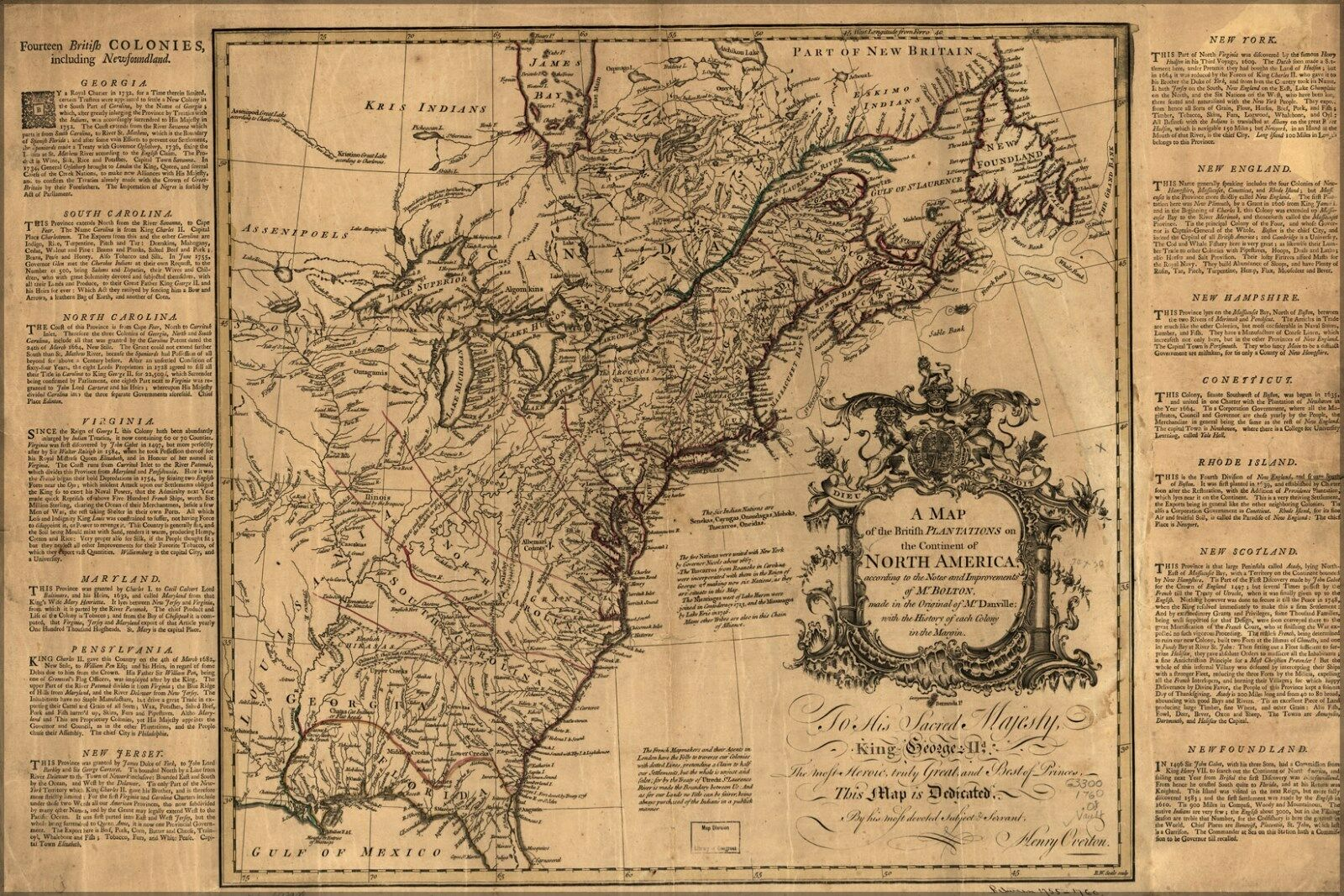 Poster, Many Größes; Map Of British Plantations Pre United States 1760
