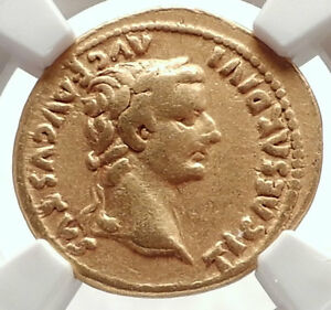TIBERIUS-Authentic-Ancient-15AD-GOLD-Roman-Coin-LIVIA-NGC-Certified-VF-i71693