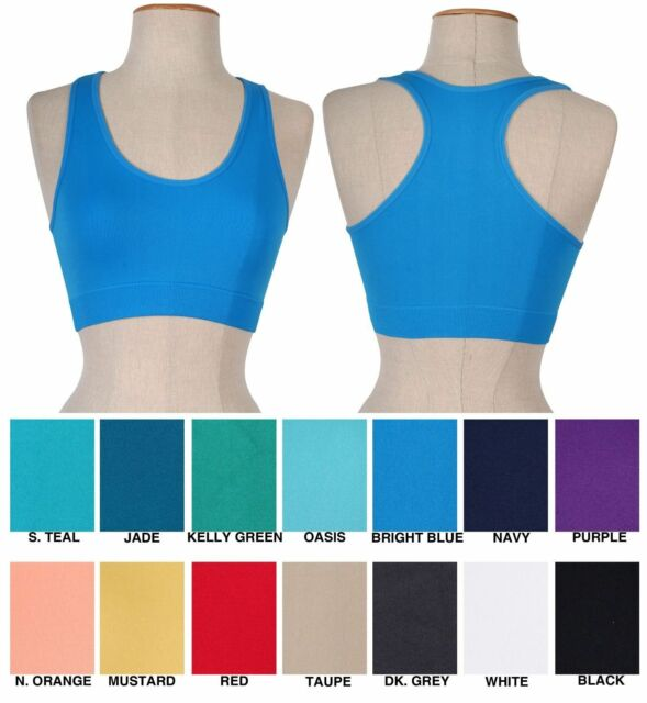 Women BASIC Seamless Fitness Yoga SPORTS BRA Racerback TANK TOP T-Shirt NO PAD