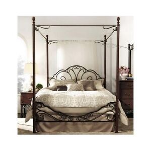 Image is loading Antique-Metal-Queen-Poster-Bed-Frame-Wrought-Iron-  sc 1 st  eBay & Antique Metal Queen Poster Bed Frame Wrought Iron Canopy Headboard ...