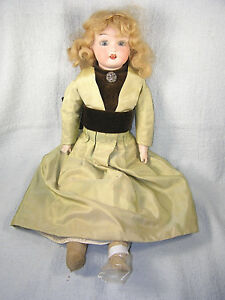 "Bisque Clever Large Antique 19"" Fulper Pottery Bisque Head Doll Lustrous Surface"