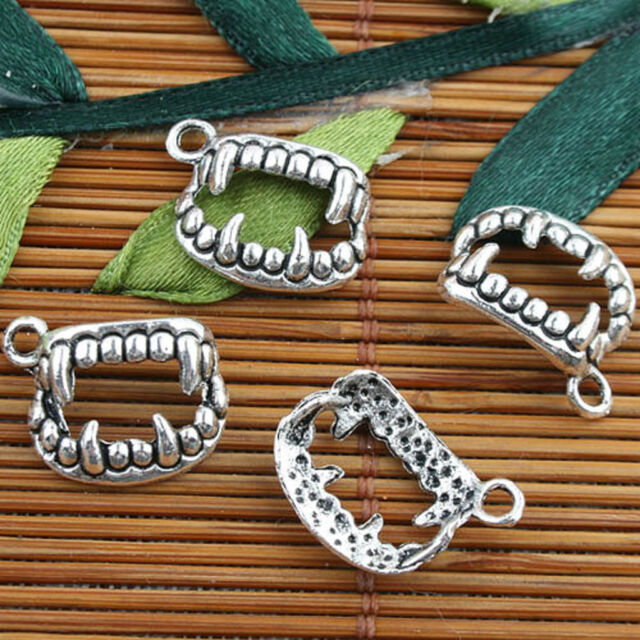 Tibetan Silver color opening mouth shaped teeth style charms 30pcs EF0094