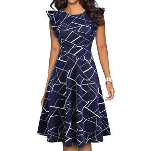 Womens-Elegant-Ruffle-Floral-Flared-Swing-Casual-Formal-Office-Work-Summer-Dress
