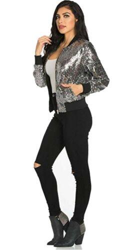 Ladies Funky Bomber Jacket Sequen Print Womens Vintage Coat Outwear Summer Tops