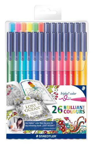 the full set! Box of 26 assorted colour pens STAEDTLER TRIPLUS COLOUR PENS