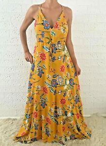 Women-039-s-Sleeveless-Yellow-Cotton-Floral-Boho-Summer-Maxi-Casual-Dress-12-14-16
