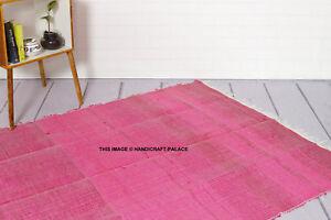 100-Recycle-Coton-Fait-a-la-Main-Tapis-Rose-Couleur-Chindi-Sol-Indien-4-1-8m