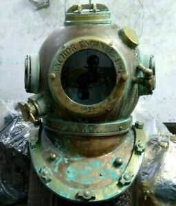 Antique-Morse-Brass-Diving-Scuba-SCA-Divers-US-Navy-V-Divers-Deep-Mark-Helmet