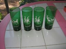 4 ANCHOR HOCKING FOREST GREEN GLASSES-2 THE HANSOM/2 BICYCLE FOR TWO