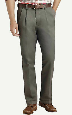 NEW Men/'s IZOD American Chino Classic Double Pleat Wrinkle Free 100/% cotton Pant