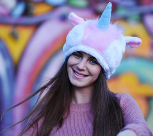 Fun /& Soft Unisex Unicorn Hat for Adult Teenager Rainbow Unicorn with Blue Horn